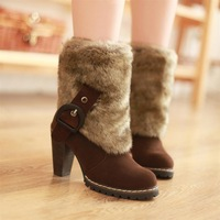 2013 fashion boots fashion buckle thick heel ultra high heels boots nubuck leather female martin boots winter boots
