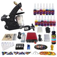 Complete Tattoo Kit 4 Pro Rotary Machine Guns 54 Inks Power Supply Needle Grips TK452
