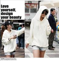 Korea casual Women Hoodies Jacket Coat Warm Outerwear  High Quality Hooded Sweatshirts White  Large Size XXL.XXXL Free Shipping