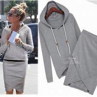 Women Autumn Hoodies Suit Cotton Women Sport Sweatshirt Pullover Tracksuits Sportswear(Hoody,Skirt) 2pcs Ssets Z204