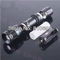 5WLED bright flashlight, CREE chip, adjustable light +18650 battery +charger, quality assurance, free shipping 1pcs
