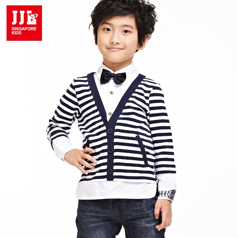 Boys False Two Shirts Kids Dress Shirt Size 7-16 Years Grental Fashion Free Shipping New Arrrival(China (Mainland))