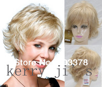 Capless Short Blonde Mixed colos curly 100% Human Hair Wigs Free shipping