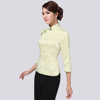 2013 autumn tang suit women's autumn vintage chinese style cheongsam top half sleeve plate buttons plus size
