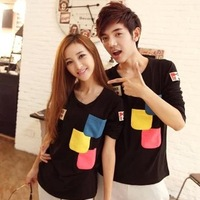 Lovers autumn 2013 V-neck casual long-sleeve T-shirt all-match male Women T-shirt long-sleeve shirt