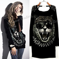 New Arrival Women Tiger Pattern Punk Style T shirt Tops Back Hollow Mesh Patchwork T-shirt Tees  7881
