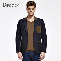 Men's clothing male short design woolen trench casual blazer woolen overcoat outerwear