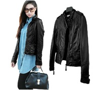 PU Leather Women's Slim Motorcycle Leather Clothing Short Jacket Bomber Biker Outerwear