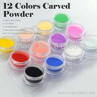 Supernova Sale 3D Nail Art Decorations 12 Colors Carving Pattern Powder Colorful Carved Powder Nails Decoration Supplies C004