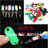 50pcs Plastic Key Ring ID Tags Name Card Label Language Fob Split Keychain