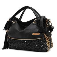 Women Handbag Tote Lady Sexy Cool Lux Punk Leopard Sequin Bag