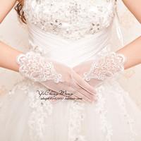Lace embroidered gloves short design gloves the bride wedding dress gloves usuginu crystal yarn gloves