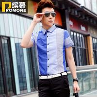 free shipping 2013 gulps half shirts fashion male stripe short-sleeve shirt