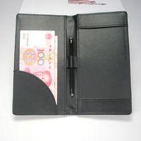 Leather cashier clip bill folder file holder  for hotel bar salon KTV restaurant black A262