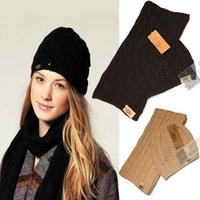 Wool male women's wool knitted hat scarf twinset scarf hat 2 piece set