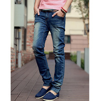 free shipping Autumn male slim straight jeans mid waist male long trousers thin light blue jeans whisker