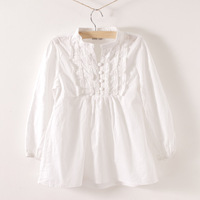 Children's clothing female child 100% cotton white stand collar long-sleeve shirt