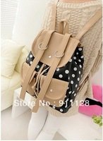 backpack female bag student bag polka dot PU paragraph women's handbag color block satanisms