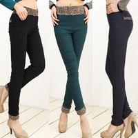 3XL HIP 126cm 120cm Plus size trousers high elastic waist elastic female mm leopard print skinny pants pencil pants