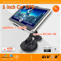5 inch Car GPS Navigation with 4GB DDR 128M + HD Screen + Windows CE 6.0 + Load Map + MT3351 CPU CPAM Free Shipping