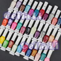 Free Shipping 36 colors 2 way nail art polish with brush & pen varnish 36colour/lot whole sale