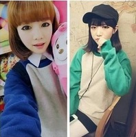 Mushroom women's autumn new arrival 2013 small fresh preppystyle multicolour fashion color block decoration long-sleeve