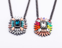 (Min Order $15)  Freeshipping quality  Rainbow Color Rhinstone Luxurious Crystal Necklace