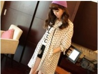 2013 New Arrival Stylish Dot Printed Slim Waist Long Pattern Coat White /Black 	CS13080612
