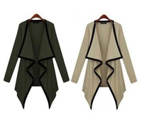 2013 New Arrival Women's Color Matching Turn-down Collar Long Sleeves Coat Apricot/Green/Pink/Black LH13080502