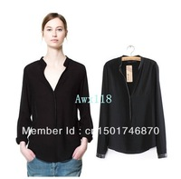 Free shipping Hot sale New women Latest Hot Lady Long Sleeve Black Pure Colour Slim Chiffon Blouse Tops Shirts 2013 wholesale