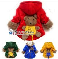 2014 new Fall winter cotton coat for children clothing baby kid girl boy outwear Cartoon back 3D Bear pocket jacket hooded
