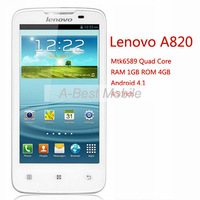 Original Lenovo A820 Phone Quad Core 1.2G CPU 4.5 Inch IPS 4GB ROM 1GB RAM 8MP Camera