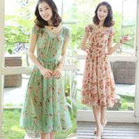 Summer chiffon one-piece dress slim midguts small over-the-knee summer one-piece dress