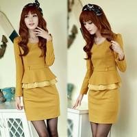2013 autumn slim ol elegant faux two piece patchwork long-sleeve ruffle plus size dress