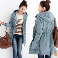 2013 autumn and winter medium-long plus size loose slim outerwear trench female thickening cotton-padded