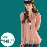 Autumn plus size lace shirt long-sleeve medium-long basic shirt female t-shirt loose chiffon top