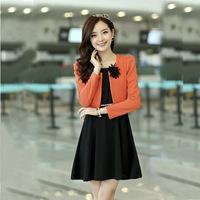 2013 autumn fashion o-neck long-sleeve slim elegant knitted cotton twinset one-piece dress