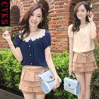 2013 summer fashionable casual chiffon shirt short culottes women's set female