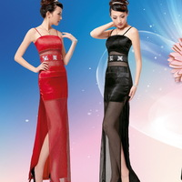 2013 transparent gauze sexy spaghetti strap slim design beading long formal dress ds table costume 087