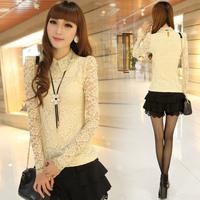 2013 autumn women's lace long-sleeve shirt slim gauze basic t-shirt plus size lace top