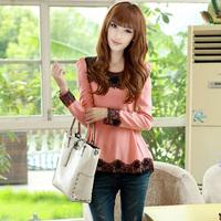 2013 autumn slim long-sleeve chiffon shirt elegant gentlewomen lace top basic shirt
