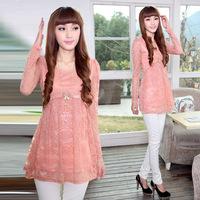 2013 o-neck long-sleeve chiffon shirt top medium-long lace basic shirt slim shirt women's