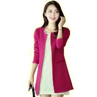 Trench Women 2013 autumn medium-long solid color plus size slim women's suit trench outerwear