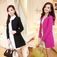 2013 autumn women's ol slim blazer popper medium-long trench blazer outerwear