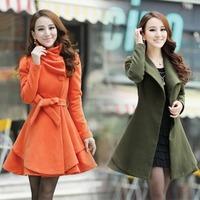 2013 turn-down collar medium-long woolen outerwear women's slim woolen overcoat
