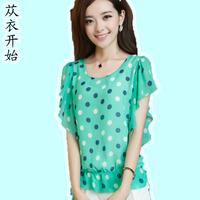 2013 summer plus size clothing all-match loose stripe polka dot short-sleeve o-neck top batwing sleeve chiffon shirt