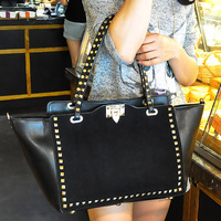 2013 women's handbag Warren rivet bag female fashion one shoulder cross-body bag big suede bag fabric
