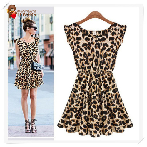 Free Shipping!! New 2013 Women One Piece Chiffon Dress Leopard Print Casual Microfiber Sundress Big size S M L XL XXL(China (Mainland))