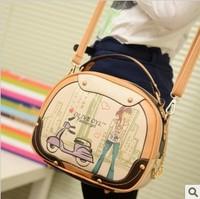 Cartoon small bag fashion 2013 cartoons drum bag portable one shoulder color block women's cross-body handbag