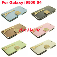Mobile Phone Leather Case Stand Cover with eiffel tower design  For Samsung I9500 Galaxy S4